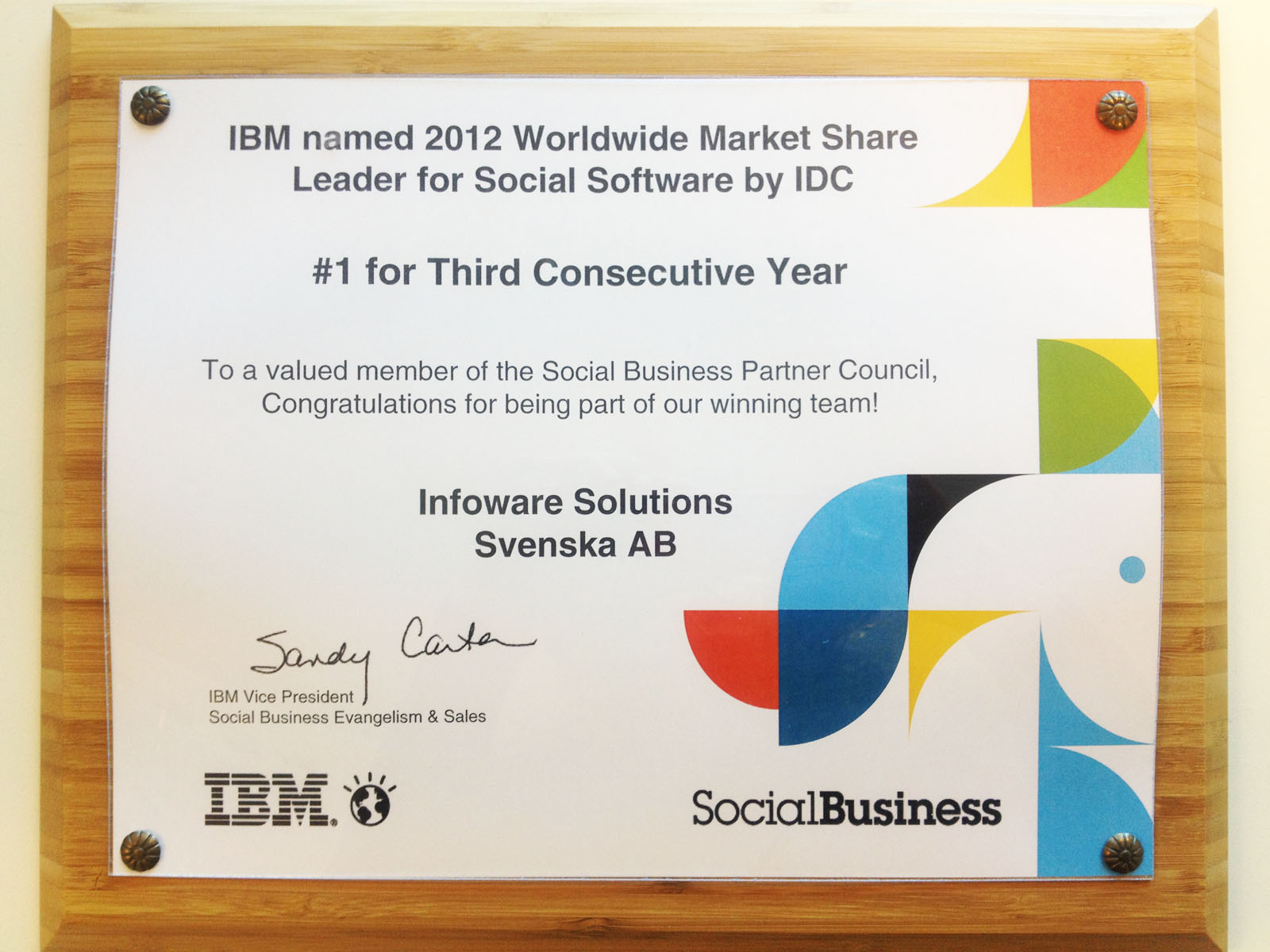 Infoware - part of IBM's winning team