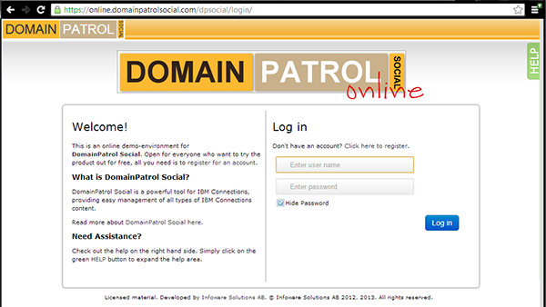 Screenshot of the demo site for DomainPatrol Social
